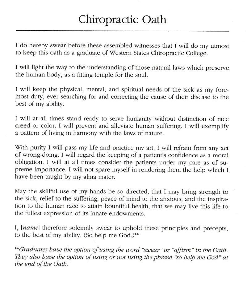 Chiropractic Oath, UWS