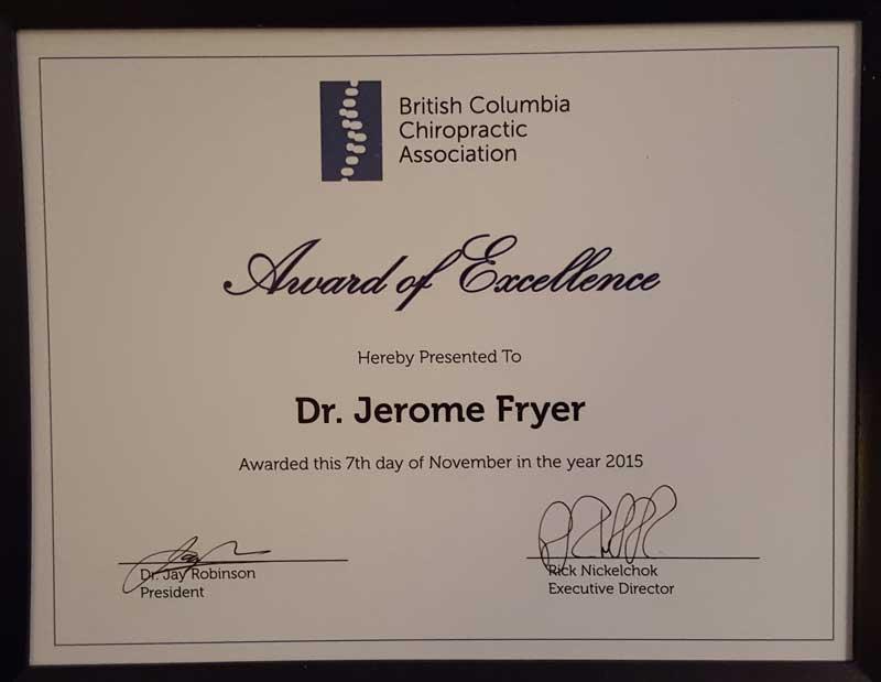 Jerome Fryer Award - Nanaimo Chiropractor