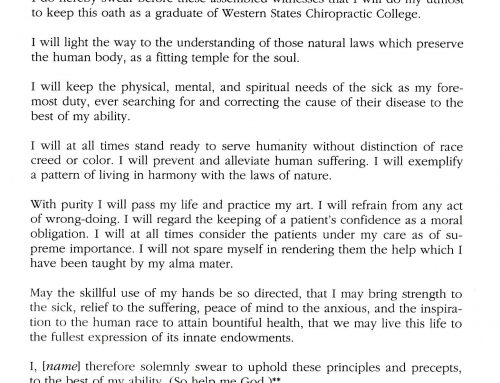 Our Chiropractic Oath
